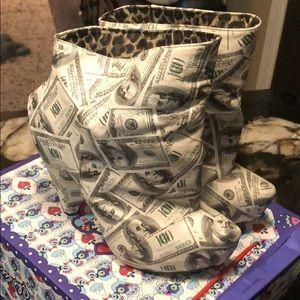 Irregular Choice Hundred Dollar Patterned Boots 8